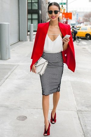 red jacket - white purse - skirt