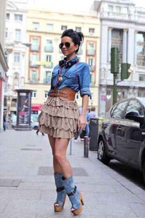 bronze belt - sky blue boots - sky blue shirt - black sunglasses - beige skirt