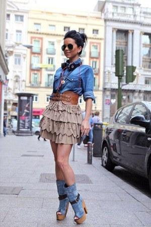bronze belt - sky blue boots - sky blue shirt - black sunglasses - beige skirt