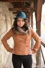 Teal-takko-hat-bronze-stradivarius-jacket-camel-scarf-black-top