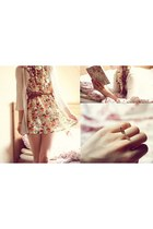 gold ring - cream dress - light brown belt - ivory cardigan