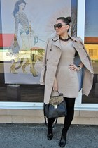 tan trench coat Mango coat - black Zara boots - tan sweater dress Mango dress