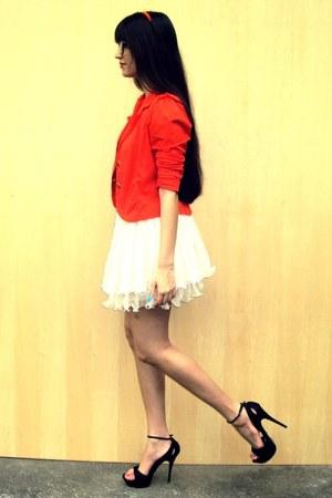 carrot orange Bless blazer - eggshell She Inside skirt