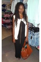 black long dress H&M dress - cream sleeveless Zara jacket