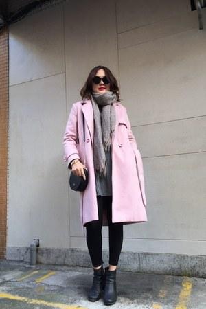 black heels boots - pink coat - black leggings - off white scarf