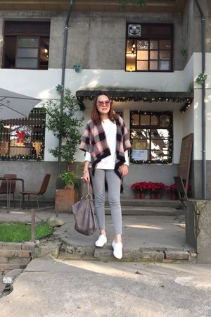 white shoes - red check scarf - heather gray bag - light pink sunglasses