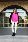 Black-boots-black-coat-bubble-gum-sweater-white-leggings