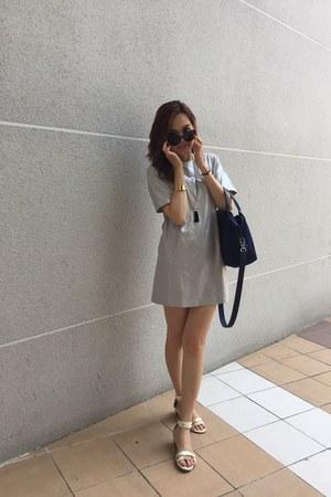 gold necklace - silver dress - navy longchamp bag - black nuveau sunglasses