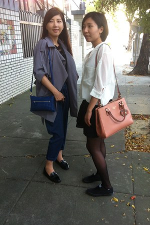 heather gray coat - blue bag - salmon bag - blue pants - white top - black skirt