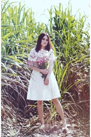 white dress - silver heels