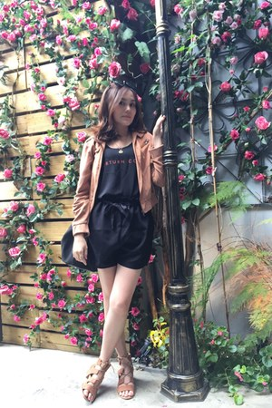 black zalora bag - black shorts - gold bracelet - light orange sandals