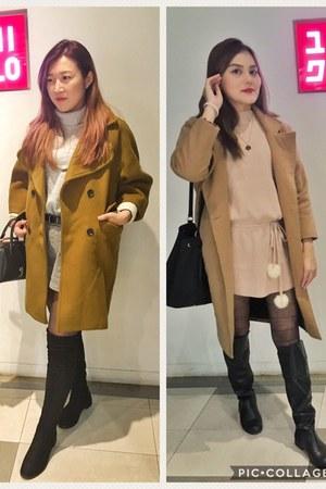 black knee boots - peach knee dress - beige coat - brown coat