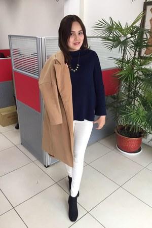 black heels boots - beige coat - navy sweater - white leggings - black necklace