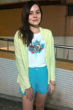 light yellow jacket - turquoise blue shorts - white t-shirt - aquamarine ring