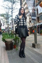 black boots - Grill tights - black purse - leather black skirt