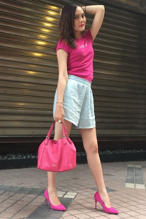 hot pink coach bag - light blue Zara shorts - hot pink heels