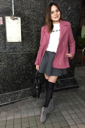 pink Zara coat - heather gray heels boots - black bag - black kneel socks
