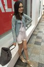 Light-blue-coat-heather-gray-bag-white-shorts-silver-stripped-top