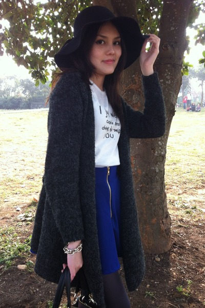 black hat - black bag - gray cardigan - blue skirt - white top