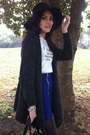 Black-hat-black-bag-gray-cardigan-blue-skirt-white-top