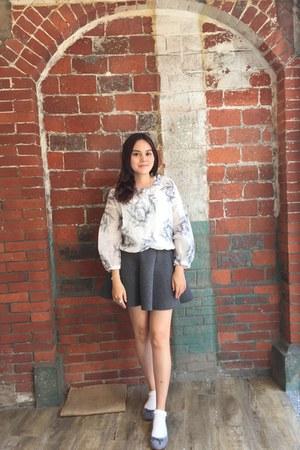 white socks - heather gray skirt - heather gray zalora flats