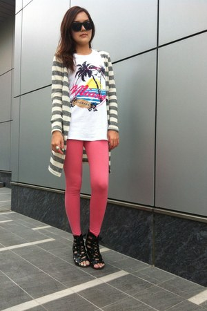silver knitted coat - bubble gum Accessorize leggings - bubble gum leggings