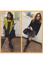 yellow yellow scarf - brick red Dr Martens boots - black kneel boots