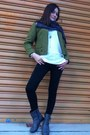 Heather-gray-boots-chartreuse-jacket-charcoal-gray-scarf-black-pants