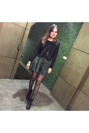 black heels boots - black cross print tights - dark green shorts