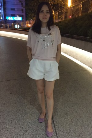 white shorts - light pink t-shirt - bubble gum zalora flats