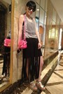 Hot-pink-celine-bag-black-shorts-silver-wedges
