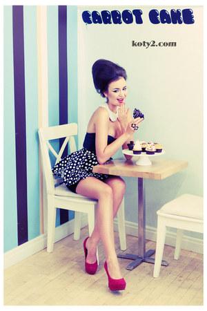 black second hand top - red deezee heels - black polka dot handmade skirt