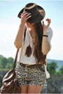Army-green-vintage-hat-ivory-second-hand-shirt-dark-brown-romwe-bag-light-