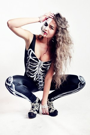 black skeleton handmade leggings - black skeleton handmade bodysuit