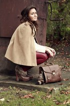 camel camel romwe cape - dark brown deezee boots - dark brown romwe bag