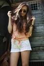 Camel-stradivarius-hat-nude-pastel-orange-romwe-shirt-dark-brown-suitcase-ro