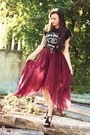 Black-romwe-shoes-brick-red-maxi-chiffon-handmade-skirt