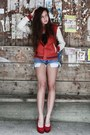 Red-baseball-h-m-jacket-periwinkle-diy-vintage-shorts-ruby-red-deezee-heels