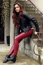 Black-vintage-boots-heather-gray-cubus-hat-black-studded-leather-diy-jacket