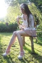 eggshell deezee heels - ivory chiffon romwe shirt - tan TKmaxx shorts