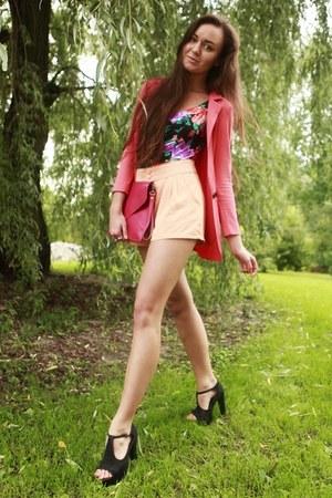 salmon ohmyfrock jacket - hot pink clutch romwe bag - light orange H&M shorts