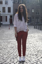 red Zara pants - Zara blouse - white Converse sneakers