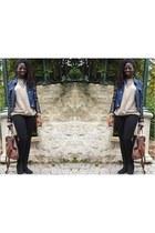 black leather jacket Stradivarius jacket - blue thrifted jeans