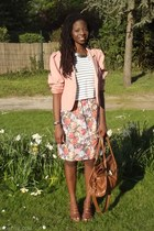 brown Primark bag - light pink thrift blazer - white new look shirt