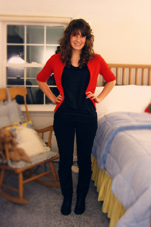 Nine West boots - JCrew jeans - JCrew cardigan - Gap top
