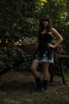 black Wet Seal via Platos Closet dress - Steve Madden via TJMaxx boots