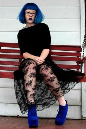 black lace dress - Jeffrey Campbell heels