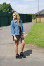 Black-cotton-bird-on-a-wire-dress-blue-denim-jacket-levis-jacket