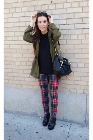 ruby red plaid Aeropostale leggings - black wedge material girl boots