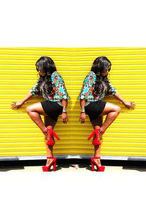 Thrift Store blouse - Ebay shoes - green H&M skirt